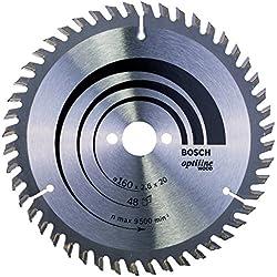 Bosch 2 608 640 732 - Hoja de sierra circular Optiline Wood - 160 x 20/16 x 2,6 mm, 48 (pack de 1)