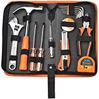 Reparación de automóviles en el hogar al aire libre 16 Mantenimiento básico Juego de herramientas de mano Caja especial (Color : Orange)