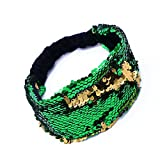 #3: Mermaid Sequin Headband Reversible Sequins Padded Hair Band Alice Band for Girls Party Gift (Green Gold)
