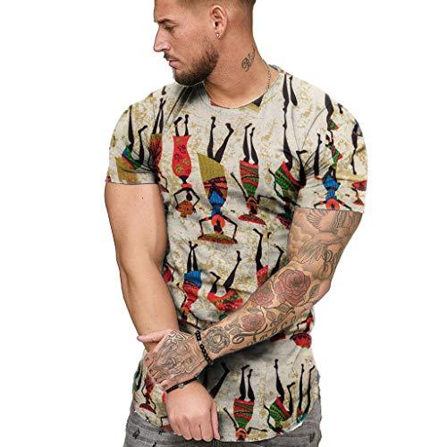 HEETEY Männer T-Shirt, Mode Herren Sommer schlank Lässige afrikanische Print O-Neck Fit Kurzarmbluse Slim Fit Top Oversize Kurzarmshirt Männer Polohemden Plus Size Kurzarmhemden