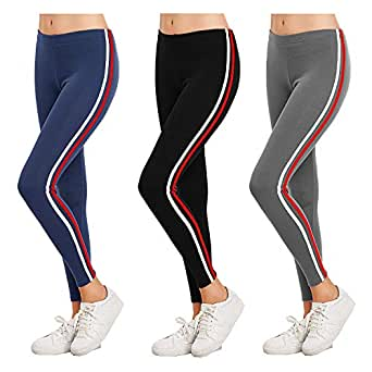 Trusha Dresses Exclusive Womens Jogger Gym Yoga Sports & Fitness Cashual Side Striped Ankle Length Leggings Tights with Stretchable Thick Spandex Rib Cotton Fabricating (Size 26 to 32) (Pack of 3)