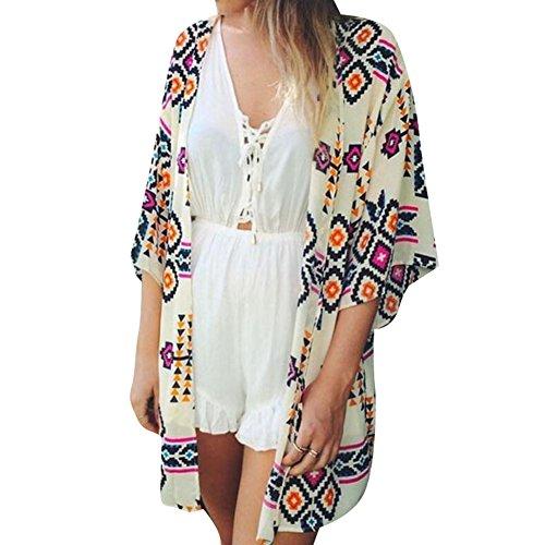 hibote Frauen Geometrie Printed Kimono Cardigan Exotische Damen Bluse Strandkleid EU 34-EU 42 Color A