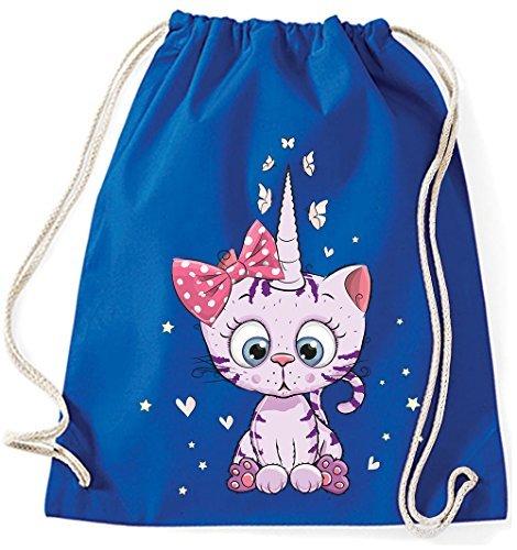 Jutebeutel Turnbeutel Sportbeutel Stofftasche Baumwolltasche Tasche Rucksack mit Kordel Gymsack Unicorn Caticorn Kittykat Cat Kitty Katze (Schwarz) Royal