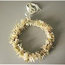 Corona de hortensia blanca, glixia, avena...