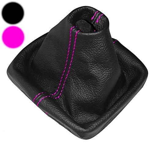 AERZETIX - Schaltsack Schalthebelmanschetten Schalthebelmanschette Schaltbetätigungs Schwarze Farbe Leder (Rosa Nähten)