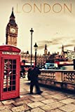 London, England, Telefonzelle und Big Ben, Papier, multi, 9 x 12 Art Print
