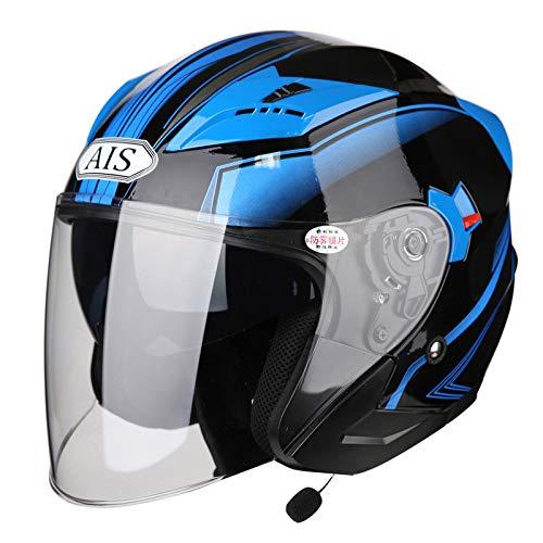 AIS Bluetooth Halber Helm R1-708 Vier Jahreszeiten MäNner Und Frauen Jet Helm Anti-Beschlag Doppelte Linse Schutzhelm Futter Waschbar Fahrradhelm,Blue+Bluetooth-XL(60-62CM)