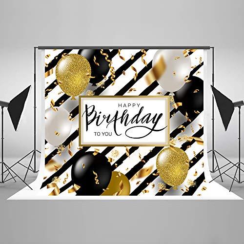 KateHome PHOTOSTUDIOS 2,2x1,5m Happy Birthday Fotografie Hintergrund Glitter Gold Geburtstag Hintergründe Microfiber Banner Hintergründe für Fotostudio Requisiten