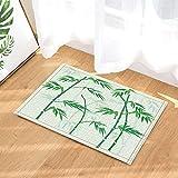 FEIYANG Zen Bambus Dekor Aquarell Bambus mit Silhouette in Hellgrün für Yoga-Badteppiche Rutschfeste Fußmatte Bodeneingänge Indoor-Haustürmatte Kinder Badematte 60X40CM Badzubehör