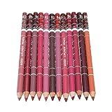 RichDeer 12 Farben Professionelle Lipliner Wasserdichte Lipliner Lippenstift Lippenkonturenstift mit Deckel 15CM