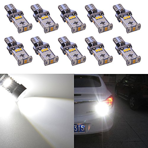 KaTur 10pcs extrêmement Lumineux 1000LM T15 LED Ampoule de stationnement, Blanc T15 921 912 T10 W15W 10-SMD CREE 3020 Feux de Remplacement de Voiture Feux de recul inversé Blanc xénon 6000K