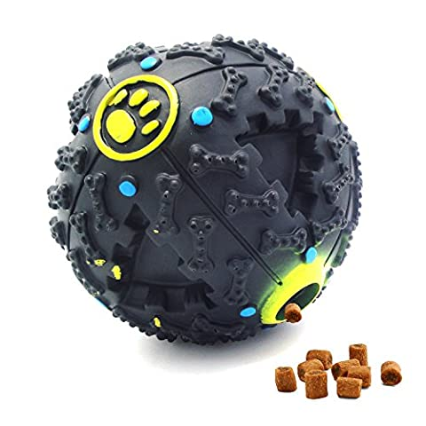 VEENE Pet Dog Toy Ball, IQ Treat Food Dispensing Maze Ball Molar Cleaning Tooth Pet Exercise Game Ball avec entraînement / jeu / Chewing pour Cat Puppy(M, NOIR)