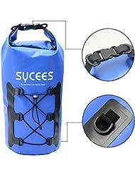SYCEES Bolsas estancas impermeable 10L Azul con bolsillo portátil adjustable y cinta doble adjustable para movil, ropa, llave para la playa, viaje, nadar, deportes acuáticos
