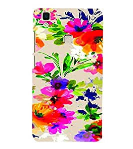 PrintVisa Corporate Print & Pattern Modern Art Floral 3D Hard Polycarbonate Designer Back Case Cover for Vivo V3