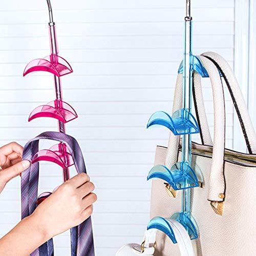 bloatboy Metall Haken Aufbewahrungshalter, 360 Grad Drehbarer Taschenhalter Kleiderschrank Hängende Tasche Krawatte Schal Organizer Standhaken (Blau) (Hängende Schal-organizer)