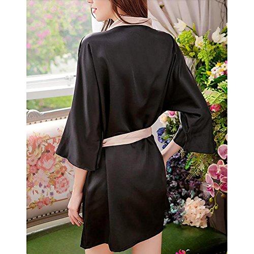 HXQ Damen Bademantel Kimono Sommer Schlafen Bad Bademantel Silk Pyjamas , black Black