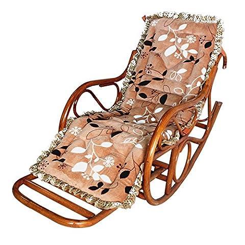 WDBS Siège de fauteuil chaise rotin chaise berçante coussins chaise longue pour le personnes âgé pad NAP , 1
