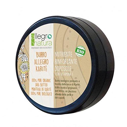 ALLEGRO NATURA - Bio-Sheabutter - Super Feuchtigkeitsspendend, restrukturierend für Haut und Haar - Stärkt die Nägel - Exzellent wie After Sun - Geeignet für empfindliche Haut - Vegan, AIAB, LAV - 50 gr