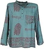 Guru-Shop Hare Krishna Mantra Shirt, Goa Hippie Hemd, Herren, Graublau, Synthetisch, Size:S, Männerhemden Alternative Bekleidung