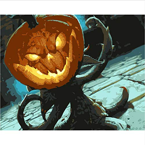 WYTTT DIY Digitale Malerei by Zahlen Paket Halloween Kürbis Ölgemälde Mural Kits Färbung Wandkunst Bild Geschenk 16X20 Zoll Frameless (Mural De Halloween)