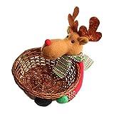 Vi.yo Panier en Bambou de Panier de Stockage de Bonbons de Noël Avec La Décoration de Noël de Santa / Bonhomme de Neige / élan Dolls