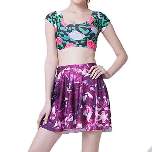 Honghu Damen Mädchen Simple A-line Basic Mini Drucken Kurz Rock Violett