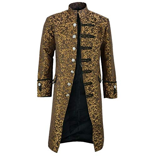 YEZIJIANG Damen Herren Mantel Frack Jacke Gothic Gehrock Uniform Kostüm Praty Outwear Männer Jacke Frack Steampunk Gothic Gehrock Cosplay Kostüm Smoking Mantel Retro Langer (Kostüm Der Russischen Musik)