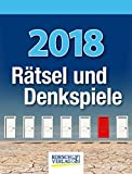 Rätsel und Denkspiele 2018: Tages-Abreisskalender mit Rätseln und kniffligen Denkaufgaben I Aufstellbar I 12 x 16 cm