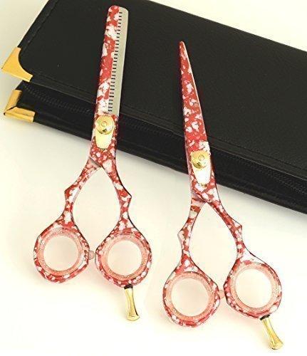 Rouge Argent Ensemble cadeau Coiffure & ciseaux de toilettage de cheveux Japonais 14cm