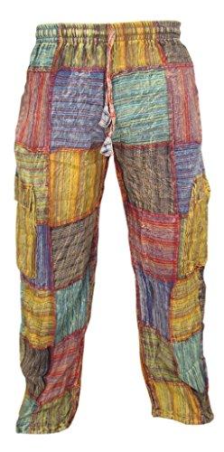 Little Kathamandu Baumwollhose, mit Patchwork-Muster, für den Sommer, für den Alltag, mit elastischem Kordelzug Gr. XXX-Large, mehrfarbig