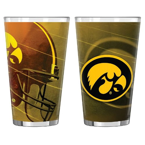 NCAA Iowa Hawkeyes Shadow Sublimated Pint, 16-ounce, 2-Pack