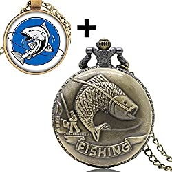 YISUYA Retro Bronze 3D Fishing Angling Design Quartz Fob Pocket Watch With Glass Dome Pendant Necklace & Gift Box