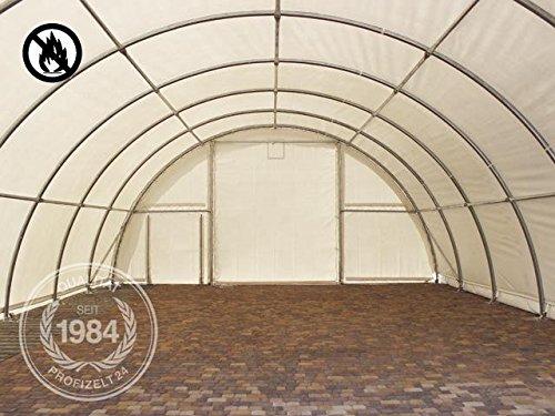 Rundbogenhalle Zelthalle 9,15x20x4,5m Weidezelt Offenstall Reithalle Weidehütte Reitzelt Maschinen Tier Unterstand Lagerzelt Garage 720g/m² PVC grau -