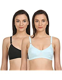 3b530c71268dd BODYCARE Pack of 2 Perfect Coverage Bra in Black-Turquoise Color - E5518BTUR