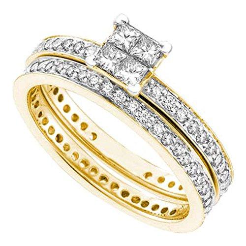Ewigkeitsring für Damen, 14 kt Gelbgold, Prinzessinnen-Diamant, 1 Karat