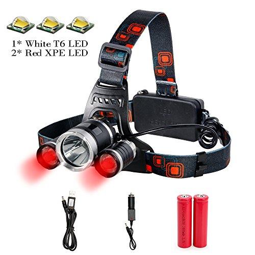 Stirnlampe Rotlicht Cree LED (1xT6 Weiß + 2xR2 Rot) USB Aufladbar Kopflampe SuperHell 4000LM Wasserdicht 4 Lichtmodi Kopflampe mit 18650 Akku, Kfz-Ladegerät, USB Kabel besten für Angeln Jagd Fahrrad