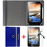"""Hello Zone Exclusive 360° Rotating 7"""" Inch Flip Case Cover + Free Tempered Glass For I KALL N4 4G VOLTE Calling Tablet -Blue"""