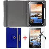"""#4: Hello Zone Exclusive 360° Rotating 8"""" Inch Flip Case Cover + Free Tempered Glass for Amazon Fire HD 8 -Blue"""
