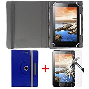 """Hello Zone Exclusive 360° Rotating 7"""" Inch Flip Case Cover + Free Tempered Glass for BSNL Penta Smart WS704DX -Blue"""