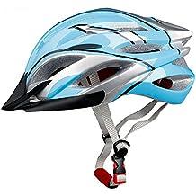 Casco de bicicleta, casco para bicicleta de carretera ultraligero y estable para hombre/mujerCasco de seguridad TOPFIRE para adulto.Casco protección de ciclismo de para bicicleta de montaña + visor (57–62cm), color azul y plateado