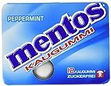 Mentos Kaugummi Peppermint, 12 Blister mit je 12 Kaugummi-Dragees, zuckerfrei mit Pfefferminz-Geschmack