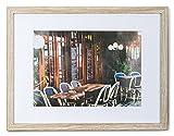 levandeo Bilderrahmen 20x30cm Eiche gekälkt Holz MDF Glasscheibe Passepartout Fotorahmen