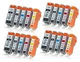 20 Druckerpatronen mit Chip und Füllstandsanzeige Kompatibel zu Canon PGI-520/CLI-521 Passend für Canon Pixma IP-3600 IP-4600 IP-4700 MP-540 MP-550 MP-560 MP-620 MP-630 MP-640 MX-860 MX-870