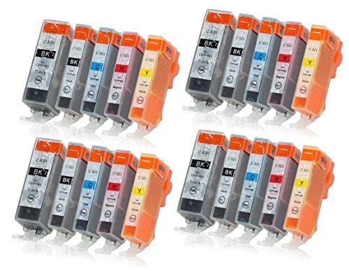 20 Druckerpatronen mit Chip und Füllstandsanzeige kompatibel zu Canon PGI-520/CLI-521 passend für Canon Pixma IP-3600 IP-4600 IP-4700 MP-540 MP-550 MP-560 MP-620 MP-630 MP-640 MX-860 MX-870 (Ip4700 Canon Pixma Farbe)