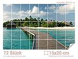 Graz Design 761014_15x20_120 Fliesenaufkleber Meer und Brücke für Kacheln | Bad-Fliesen mit Fliesenbildern überkleben (Fliesenmaß: 15x20cm (BxH)//Bild: 180x120cm (BxH))