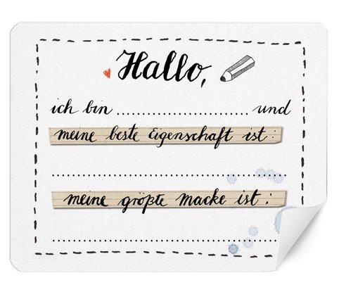 15 Etiketten MATT Hallo ich bin - Smalltalk - 48x61 mm, Partyspiel zum Kennenlernen und für Gesprächsstoff auf eurer Hochzeitsfeier, eurem Geburtstag, Jubiläum