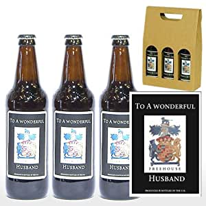 Personalised 'To A Wonderful Husband' Trio of Yorkshire Ales in a Gift Box - Gift ideas for Birthday, Anniversary and Congratulations Presents