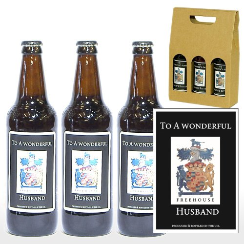 Personalised 'To A Wonderful Husband' Trio of Yorkshire Ales in a Gift Box - Gift ideas for Birthday, Anniversary and Congratulations Presents, Celebration Gift for Him, Valentines