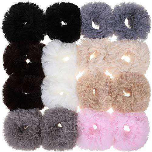 16 pezzi pom elastici per capelli pompom palla elastica fascia per capelli finto pelliccia fermacoda portacoda di cavallo per donne accessori per capelli (colore set 1)