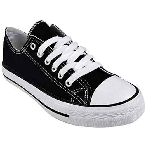 ladies-womens-canvas-lace-up-plimsoll-flat-gym-shoes-sneakers-trainer-pumps-size-uk-5-eu-38-us-7-bla
